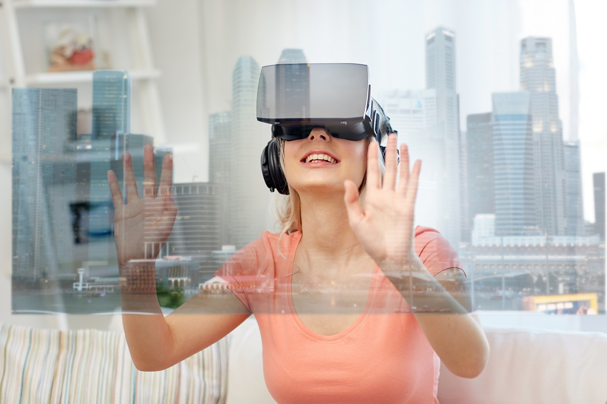 photo of woman experiencing 3D virtual glasses