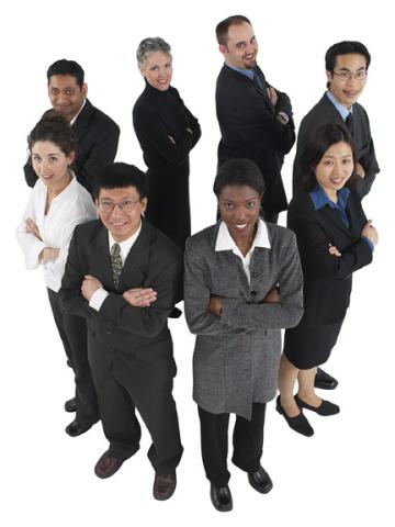 Business people standing in a circle