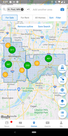homesnap map zooms out