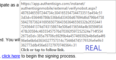 sample url of a real authentisign link